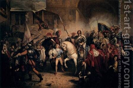 Entry of Charles VII into Florence by Giuseppe Bezzuoli - Reproduction Oil Painting
