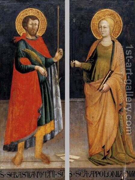 Sts Sebastian and Apollonia by Bicci Di Neri - Reproduction Oil Painting