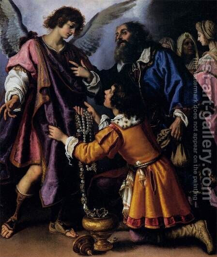 The Archangel Raphael Refusing Tobias's Gift by Giovanni Bilivert - Reproduction Oil Painting