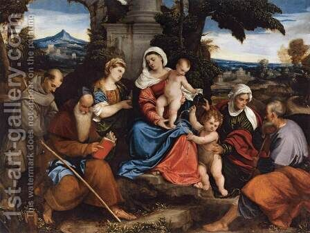Holy Family with Saints by Bonifacio Veronese (Pitati) - Reproduction Oil Painting