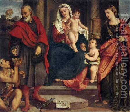 Madonna of the Tailors by Bonifacio Veronese (Pitati) - Reproduction Oil Painting