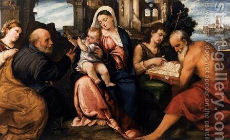 Virgin and Child with Saints by Bonifacio Veronese (Pitati) - Reproduction Oil Painting