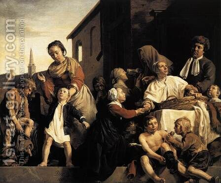 Tending Children at the Orphanage in Haarlem by Jan De Bray - Reproduction Oil Painting