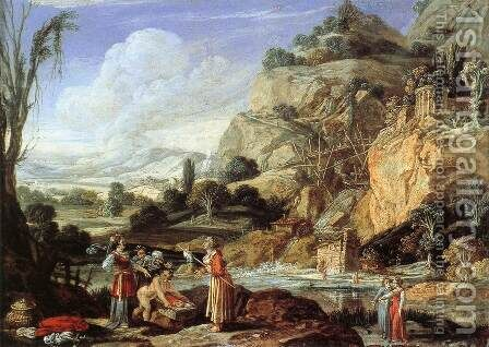 Landscape with the Finding of Moses by Bartholomeus Breenbergh - Reproduction Oil Painting