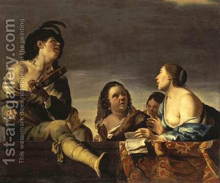 Merry Company with a Violinist by Jan Gerritsz van Bronchorst - Reproduction Oil Painting