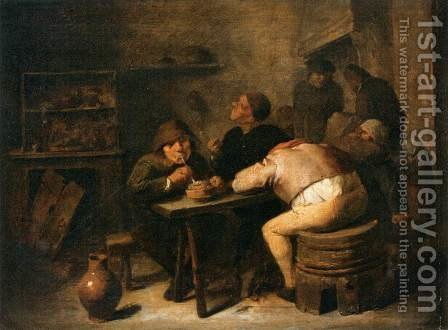 Interior of a Smoking Room by Adriaen Brouwer - Reproduction Oil Painting