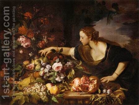 Woman Grasping Fruit by Abraham Brueghel - Reproduction Oil Painting