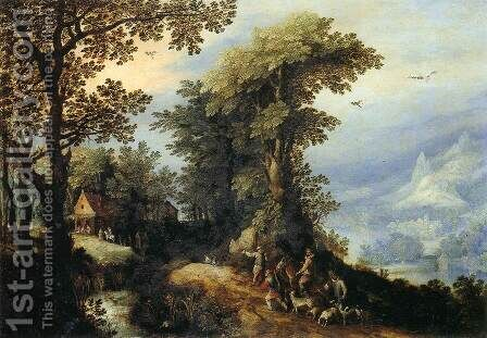 Landscape with Hunters by Jan The Elder Brueghel - Reproduction Oil Painting