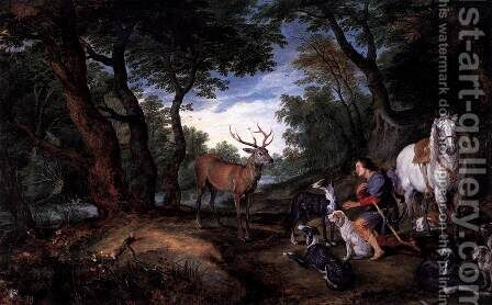 The Vision of St Hubert by Jan The Elder Brueghel - Reproduction Oil Painting