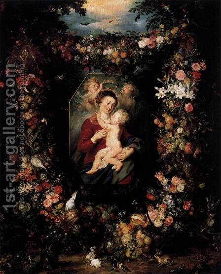 Virgin and Child Surrounded by Flowers and Fruit by Jan The Elder Brueghel - Reproduction Oil Painting