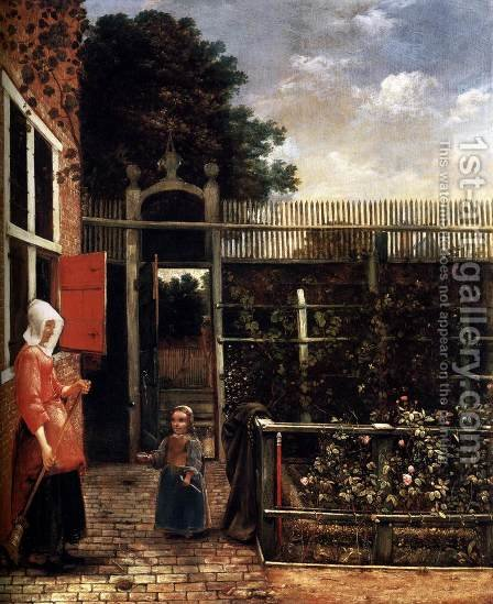 Woman with a Child Blowing Bubbles in a Garden by Hendrick Van Der Burch - Reproduction Oil Painting