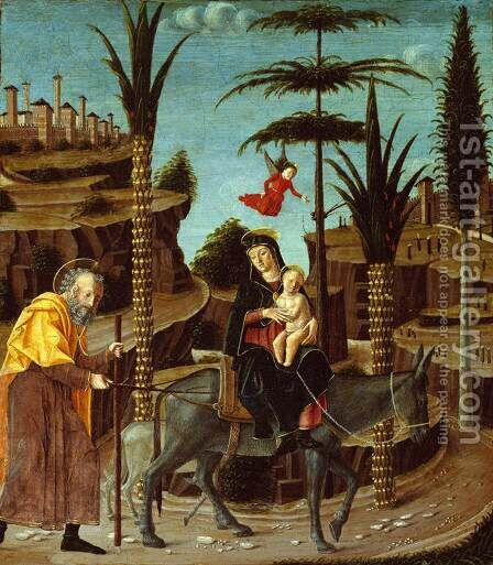 The Flight into Egypt by Bernardino Jacopi Butinone - Reproduction Oil Painting