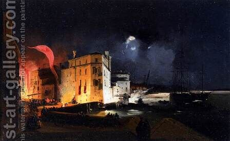 Nocturnal Celebrations in Via Eugenia at Venice by Ippolito Caffi - Reproduction Oil Painting