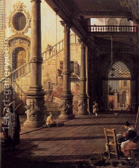 Perspective View with Portico (detail) by (Giovanni Antonio Canal) Canaletto - Reproduction Oil Painting