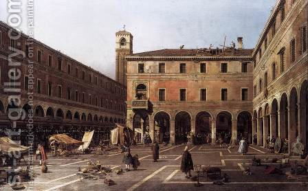 The Campo di Rialto 2 by (Giovanni Antonio Canal) Canaletto - Reproduction Oil Painting