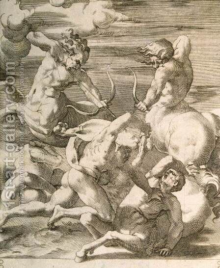 Battle between Hercules and Centaurs by Giovanni Jacopo Caraglio - Reproduction Oil Painting