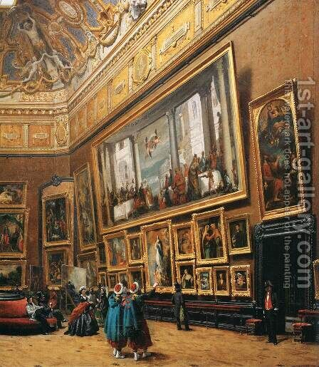 View of the Grand Salon Carre in the Louvre (detail) by Giuseppe Castiglione - Reproduction Oil Painting