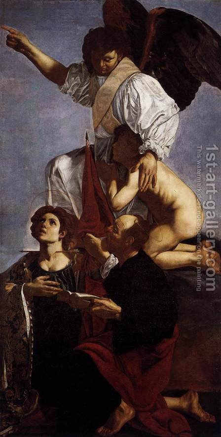 Guardian Angel with Sts Ursula and Thomas by Cecco Del Caravaggio - Reproduction Oil Painting