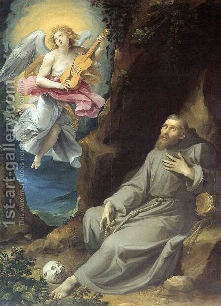 St Francis Consoled by an Angel by Giuseppe (d'Arpino) Cesari (Cavaliere) - Reproduction Oil Painting