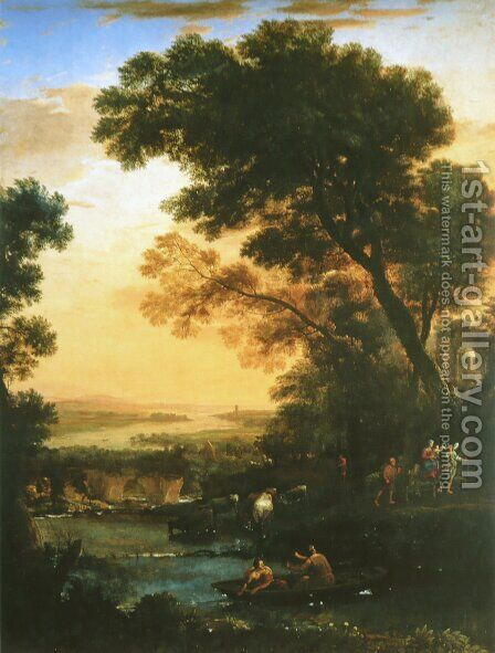 Ideal Landscape with the Flight into Egypt by Claude Lorrain (Gellee) - Reproduction Oil Painting