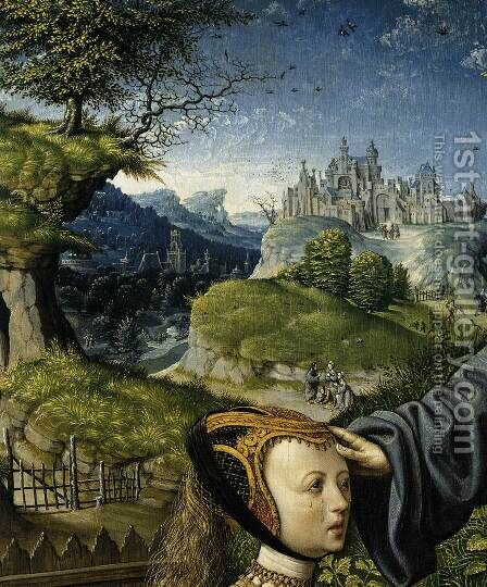 Christ Appearing to Mary Magdalen as a Gardener (detail) 2 by Jacob Cornelisz Van Oostsanen - Reproduction Oil Painting