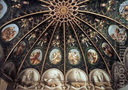 Ceiling of the Camera di San Paolo (partial view) by Correggio (Antonio Allegri) - Reproduction Oil Painting