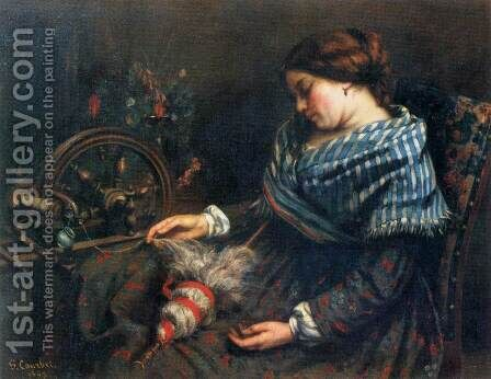 The Sleeping Spinner by Gustave Courbet - Reproduction Oil Painting