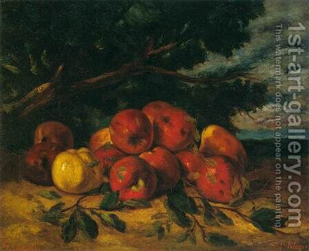 Red Apples at the Foot of a Tree by Gustave Courbet - Reproduction Oil Painting