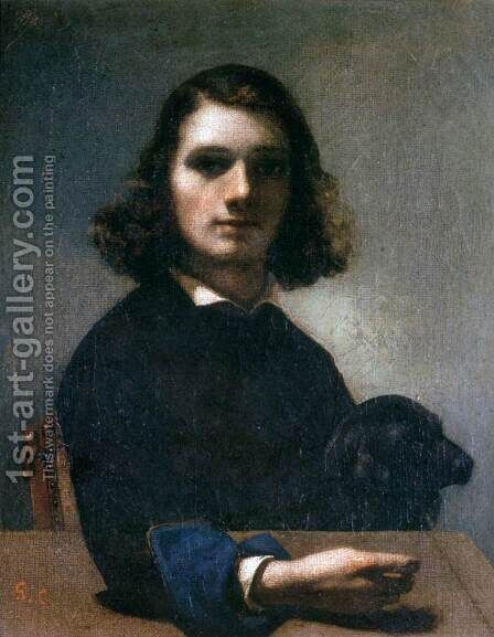 Self-Portrait (Courbet with Black Dog) by Gustave Courbet - Reproduction Oil Painting