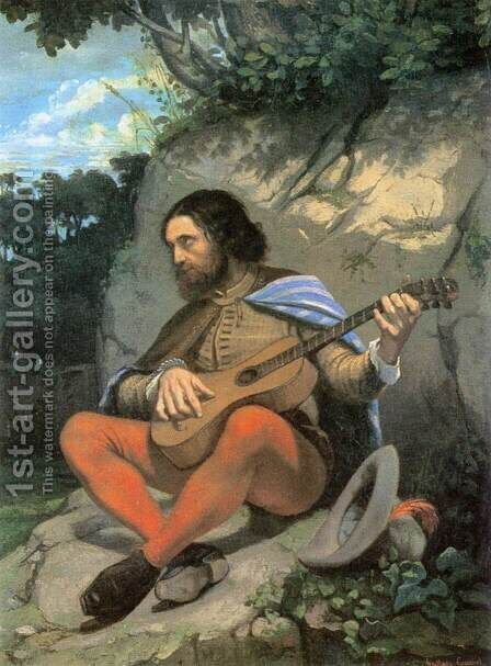 Young Man in a Landscape (The Guitarrero) by Gustave Courbet - Reproduction Oil Painting