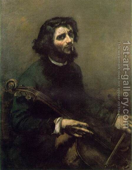 Self-Portrait (The Cellist) by Gustave Courbet - Reproduction Oil Painting