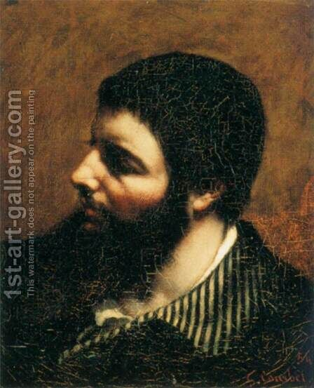 Self-Portrait with Striped Collar 2 by Gustave Courbet - Reproduction Oil Painting