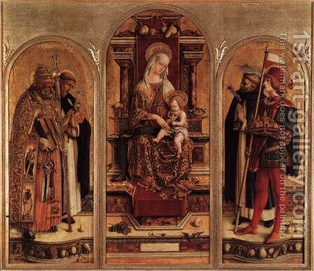 Triptych of Camerino by Carlo Crivelli - Reproduction Oil Painting