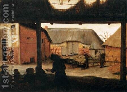 Farmyard with a Beggar by Cornelis Van Dalem - Reproduction Oil Painting