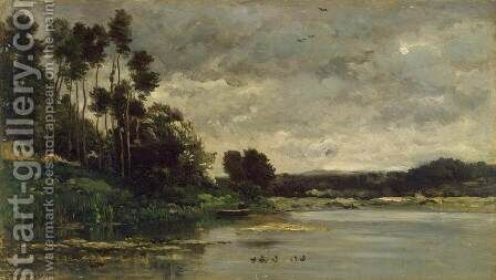 River Bank by Charles-Francois Daubigny - Reproduction Oil Painting