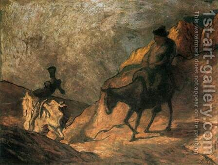 Don Quixote and Sancho Panza 3 by Honoré Daumier - Reproduction Oil Painting