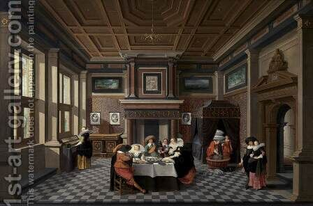An Interior with Ladies and Gentlemen Dining by Dirck Van Delen - Reproduction Oil Painting