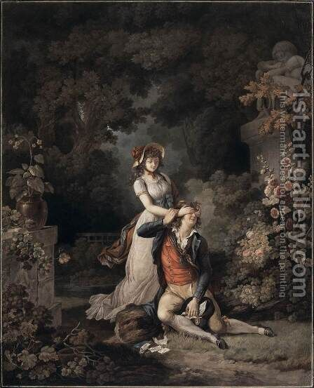 Lover Surprised by Charles-Melchior Descourtis - Reproduction Oil Painting