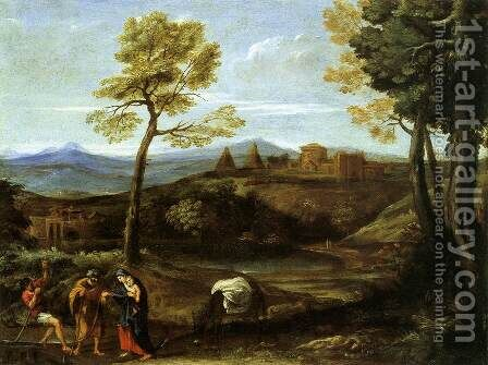 Landscape with the Flight into Egypt by Domenichino (Domenico Zampieri) - Reproduction Oil Painting