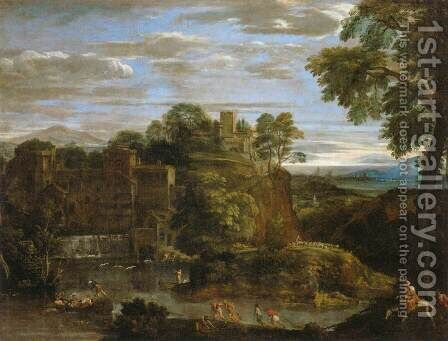 Landscape with the Flight into Egypt 2 by Domenichino (Domenico Zampieri) - Reproduction Oil Painting