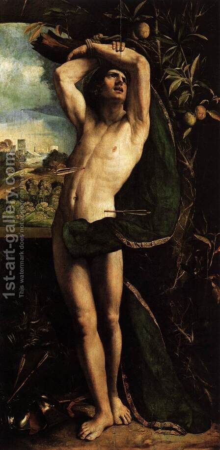 St Sebastian by Dosso Dossi (Giovanni di Niccolo Luteri) - Reproduction Oil Painting