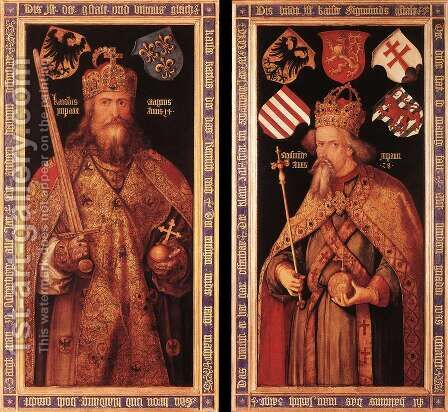 Emperor Charlemagne and Emperor Sigismund 2 by Albrecht Durer - Reproduction Oil Painting