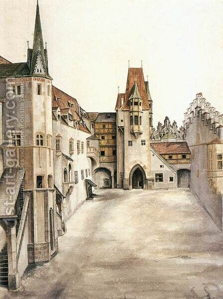 Courtyard of the Former Castle in Innsbruck without Clouds by Albrecht Durer - Reproduction Oil Painting