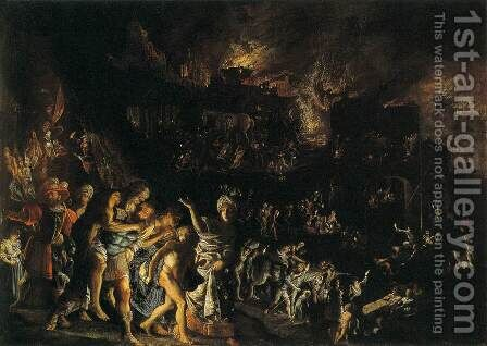 The Burning of Troy by Adam Elsheimer - Reproduction Oil Painting