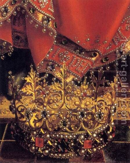 The Ghent Altarpiece God Almighty (detail) by Jan Van Eyck - Reproduction Oil Painting