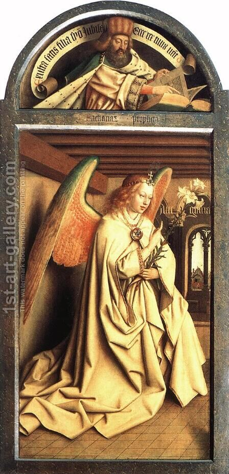 The Ghent Altarpiece Prophet Zacharias; Angel of the Annunciation by Jan Van Eyck - Reproduction Oil Painting