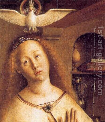 The Ghent Altarpiece Mary of the Annunciation (detail) by Jan Van Eyck - Reproduction Oil Painting