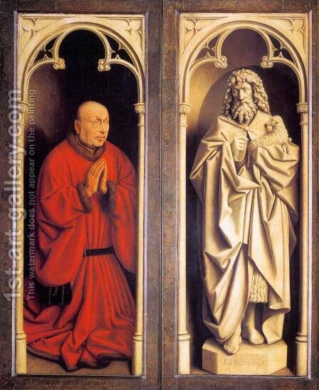 The Ghent Altarpiece Donor and St John the Baptist by Jan Van Eyck - Reproduction Oil Painting