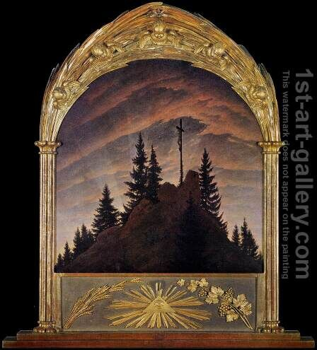 Cross in the Mountains (Tetschen Altar) 2 by Caspar David Friedrich - Reproduction Oil Painting