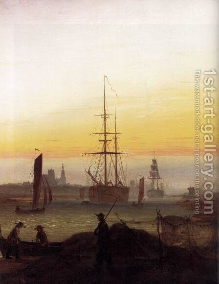Greifwald Harbour by Caspar David Friedrich - Reproduction Oil Painting